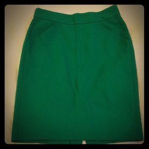 Green J Crew pencil skirt